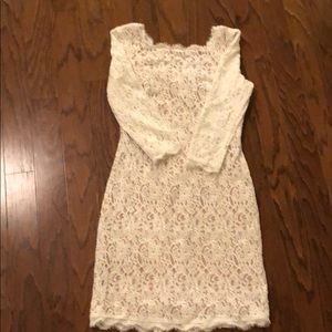 adriana papell white lace dress